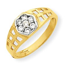 <strong>Jewelryweb</strong> 10k Yellow Gold Cubic Zirconia Child's Ring