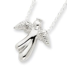 <strong>Jewelryweb</strong> Sterling Silver Rough Diamond Angel Necklace