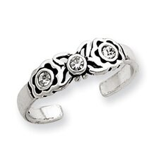 Sterling Silver Crystal Solid Toe Ring