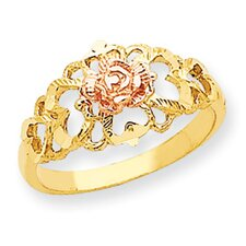 14k Yellow and White Gold Rose Diamond Cut Child's Ring