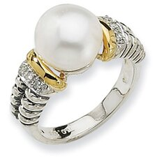 Sterling Silver With 14k Yellow Gold Rough Diamond and Cultured Pearl Ring