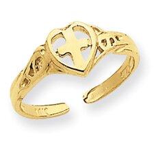 14k Yellow Gold Cross in Heart Toe Ring