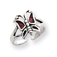 Sterling Silver Butterfly Solid Toe Ring
