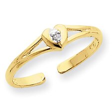 14k Yellow Gold Heart Rough Diamond Toe Ring