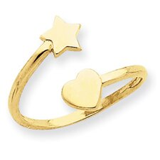 14k Yellow Gold Heart and Star Toe Ring