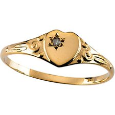 14k Yellow Gold Heart with Rough Diamond Childrens Ring