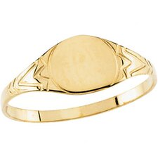 14k Yellow Gold Round Signet Childrens Ring