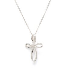 Sterling Silver Cross Diamond Necklace - Chain - Spring Ring