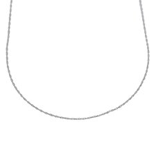 14K White Gold Carded Cable Rope Chain Necklace - Spring Ring