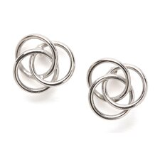 <strong>Jewelryweb</strong> 14k White Gold Love Knot Earrings