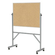 Reversible Natural Cork Bulletin Board with Aluminum Frame