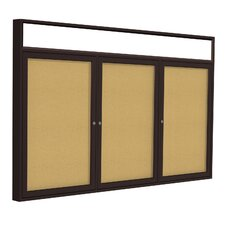 3 Door Headliner Enclosed Natural Cork Tackboard