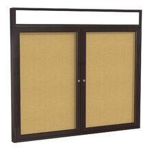 2-Door Aluminum Frame Enclosed Bulletin Board with Headliner - Natural Cork