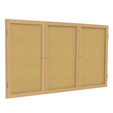 3-Door Enclosed Natural Cork Tackboard
