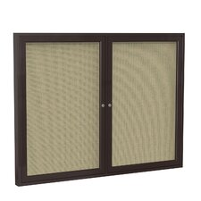 2-Door Wood Frame Enclosed Fabric Tackboard