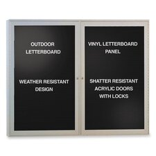 Outdoor Enclosed Letterboards,2-Door,4'x3',Aluminum Frame