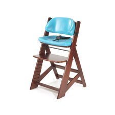 Height Right Kids Chair in Mahogany and Comfort Cushion in Aqua