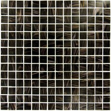 "3/4"" x 3/4"" Iridescent Glass Mosaic in Black Iridescent"