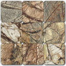 "4"" x 4"" Tumbled Marble Tile in Cafe Forest"