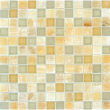 "1"" x 1"" Polished Glass Mosaic in Honey Ivory"
