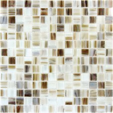 "12"" x 12"" Iridescent Glass Mosaic in Ivory Iridescent"