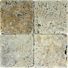 "4"" x 4"" Tumbled Travertine Tile in Tuscany Scabas"