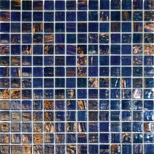"12"" x 12"" Iridescent Glass Mosaic in Blue Iridescent"