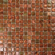 "1"" x 1"" Iridescent Glass Mosaic in Light Brown Iridescent"