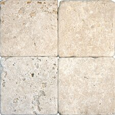 "6"" x 6"" Tumbled Travertine Tile in Tuscany Classic"