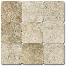 "SAMPLE - 4"" x 4"" Tumbled Travertine Tile in Tuscany Classic"