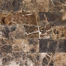 "SAMPLE - 6"" x 3"" Tumbled Marble Tile in Emperador Dark"