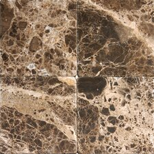 "6"" x 6"" Tumbled Marble Tile in Emperador Dark"