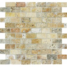 "<strong>MS International</strong> 12"" x 12"" Tumbled Travertine Mosaic in Tuscany Scabas"
