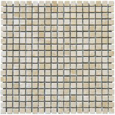 "12"" x 12"" Tumbled Travertine Mosaic in Durango Cream"