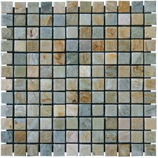 "<strong>MS International</strong> 12"" x 12"" Tumbled Slate Mosaic in Golden White"