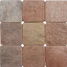 "SAMPLE - 4"" x 4"" Tumbled Quartzite Tile in Copper"