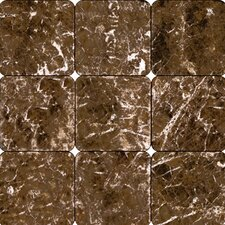 "SAMPLE - 4"" x 4"" Tumbled Marble Tile in Emperador Dark"