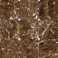 Tumbled Marble Tile in Emperador Dark