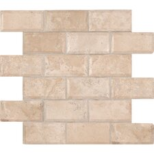 "Tuscany Ivory 12"" x 12"" Honed Travertine Mesh Mounted Mosaic Tile in Ivory"