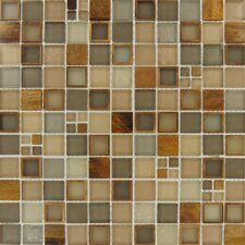 "Manhattan 12"" x 12"" Blend Glass and Metal Mesh Mounted Mosaic Tile in Multi"