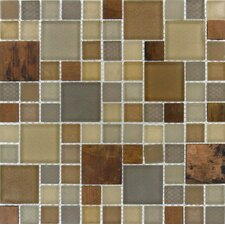 "Metropolitan 12"" x 12"" Blend Glass and Metal Mesh Mounted Mosaic Tile in Multi"