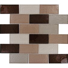 "Ayres 4"" x 2"" Blend Glass Mesh Mounted Mosaic Tile in Multi"