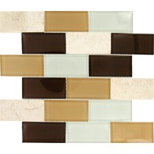 "Desert Mirage 12"" x 12"" Glass Stone Mesh Mounted Mosaic Tile in Multi"