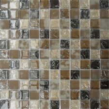 "Pacific Dunes 12"" x 12""  Blend Glass Mesh Mounted Mosaic Tile in Brown"
