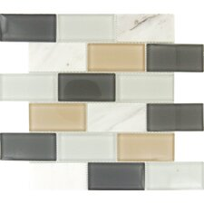 "Glacier Peak 12"" x 12"" Glass Stone Mesh Mounted Mosaic Tile in Multi"