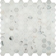 "Calacatta Gold Hexagon 1"" x 1"" Polished Marble Mesh Mounted Mosaic Tile in White"