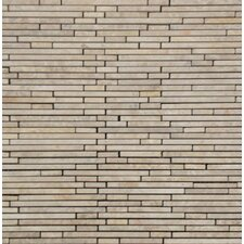 "<strong>MS International</strong> Crema Ivy Bamboo Stone 12"" x 12"" Marble Mesh Mounted Mosaic Tile in Beige"