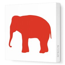 Silhouettes Elephant Stretched Canvas Art