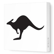 Silhouettes Kangaroo Stretched Canvas Art