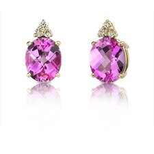14 Karat Yellow Gold 8.00 carats Oval Checkerboard Cut Garnet Diamond Earrings